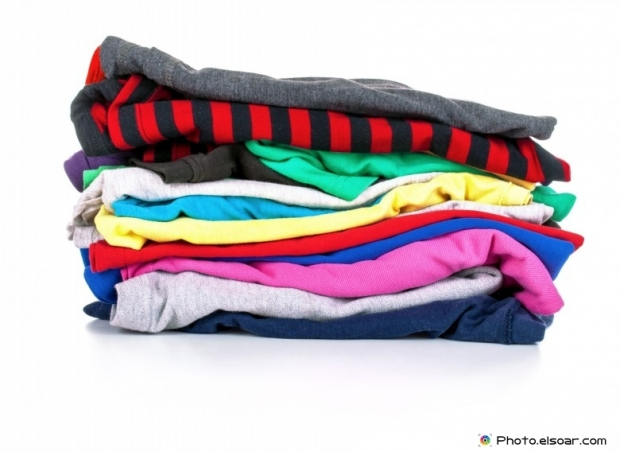 Stack of colorful t-shirts