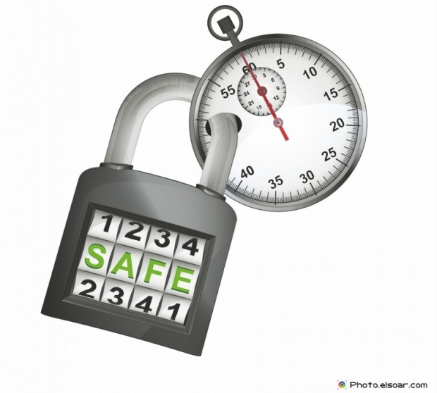 Stopwatch caught in security closed padlock