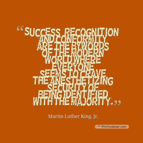 Martin Luther King Jr. Day , Success, recognition, and conformity are the bywords of the modern