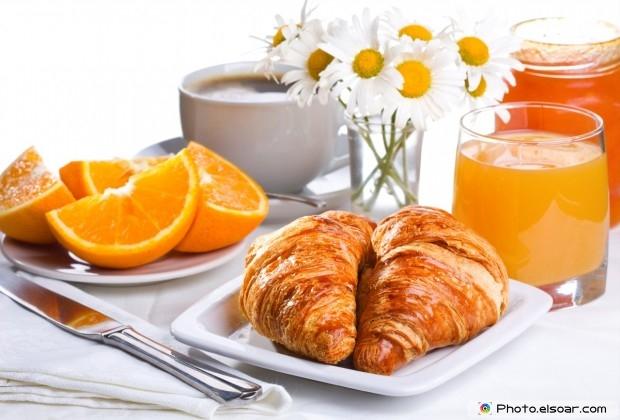Tasty Breakfast Of Croissants, Orange Juice And Coffee