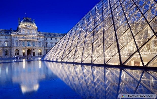 The Pyramid Near To The Louvre Museum