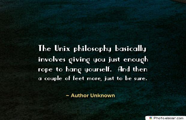 The Unix philosophy basically involves