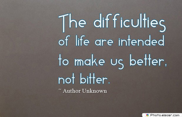 The difficulties of life are intended to make