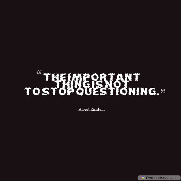 Dare To Be Great , Motivational Quotes, Inspirational Sayings , The important thing is not to stop questioning