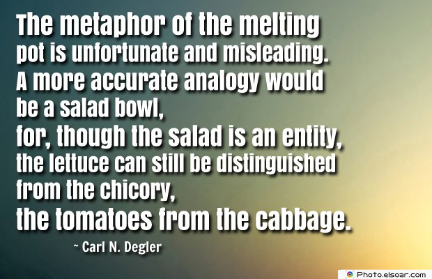 Quotes About America , America Quotes , The metaphor of the melting pot is unfortunate