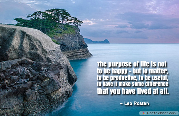 Donate Life , The purpose of life is not to be happy</strong> - <em>but to matter, to be productive