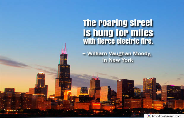 The roaring street is hung for miles