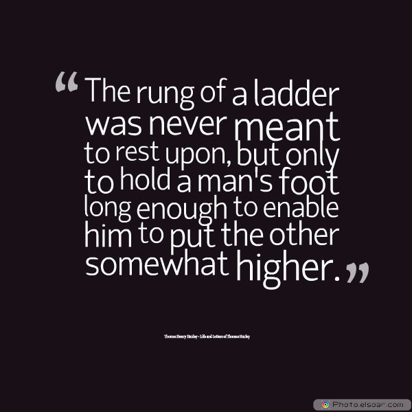 Dare To Be Great , Motivational Quotes, Inspirational Sayings , The rung of a ladder was never meant to rest upon, but only