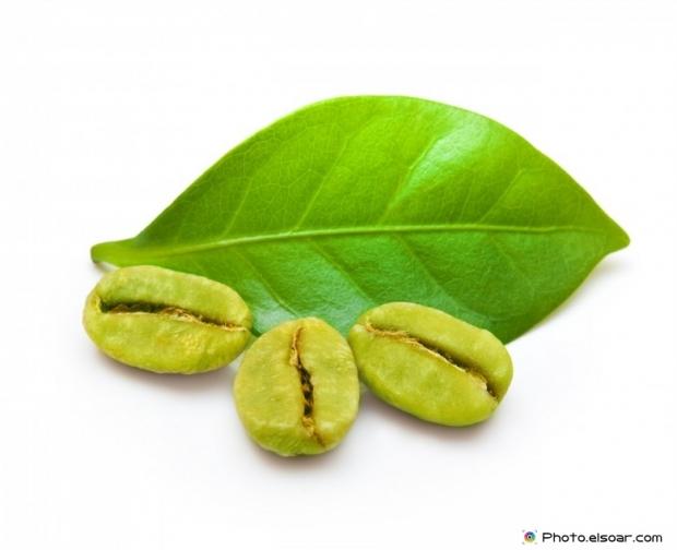 Three Green coffee beans