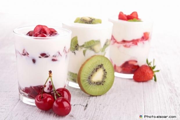 Three of milk shakes with fruit