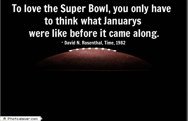 Super Bowl Quotes , To love the Super Bowl, you only have to think what Januarys