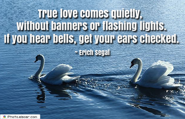 Love Quotes , True love comes quietly, without banners or flashing lights