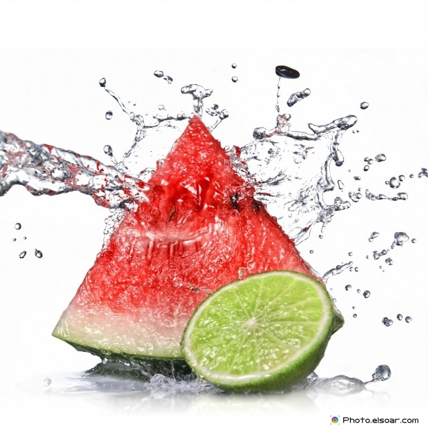 Watermelon, Lime With Water Splash