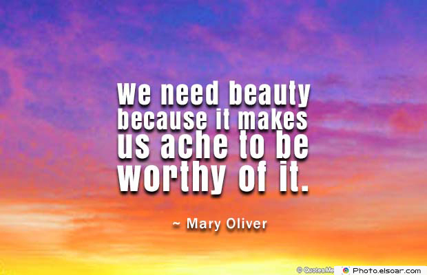 Beauty Quotes , We need beauty because it makes