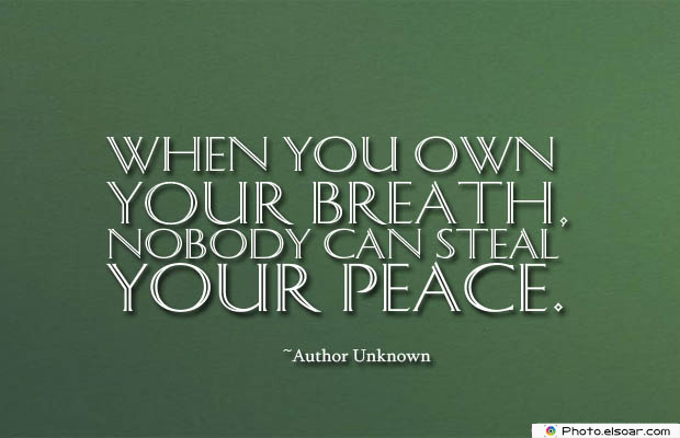 Breathing Quotes , When you own your breath