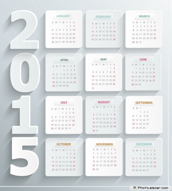 White 2015 Calendar - Abstract Business Design