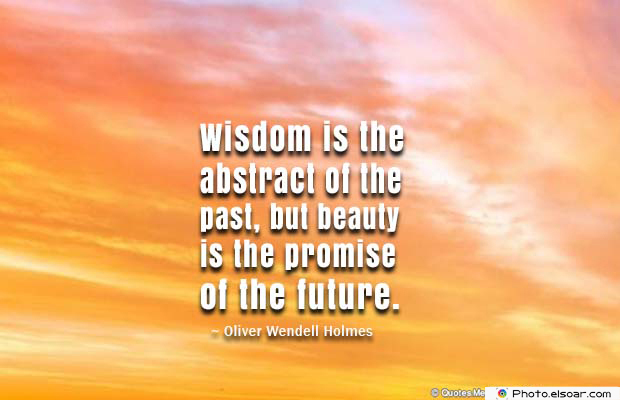 Beauty Quotes , Wisdom is the abstract of the past
