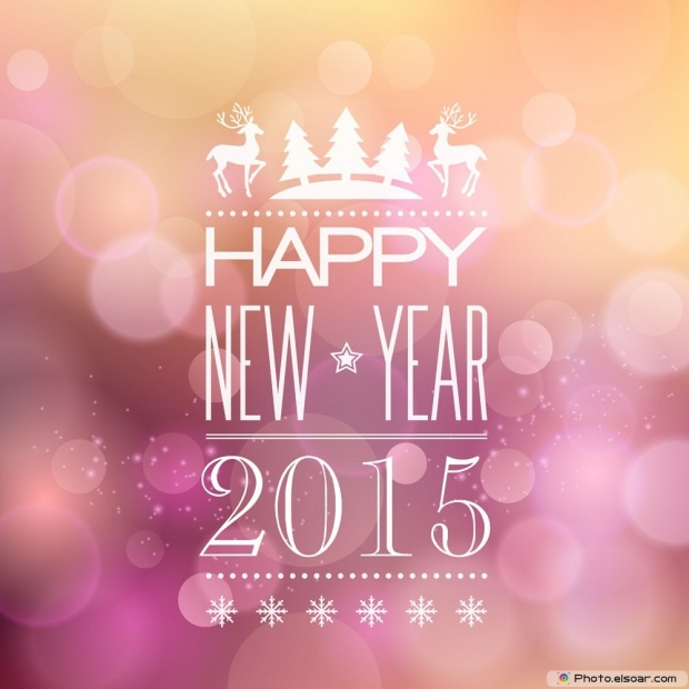 Wish You A Very Happy New Year 2015 - Vintage Photo