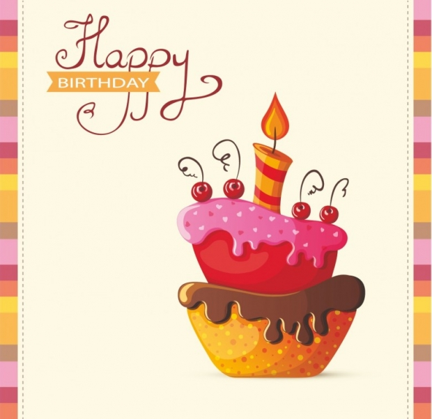 Word 'Happy Birthday' card with cake