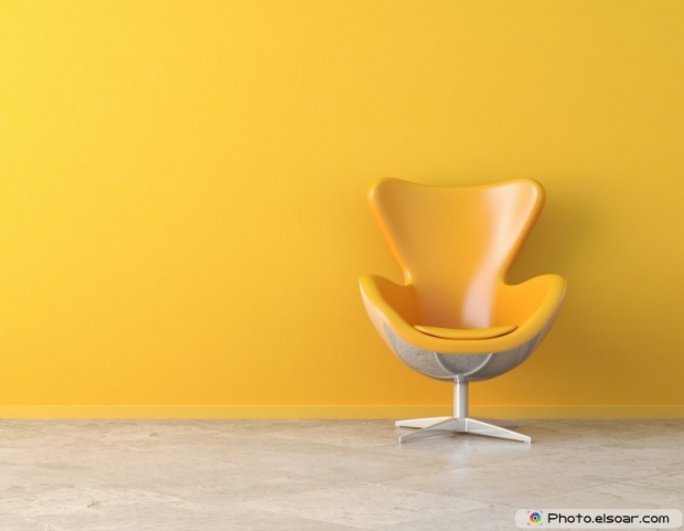 Yellow interior copy space